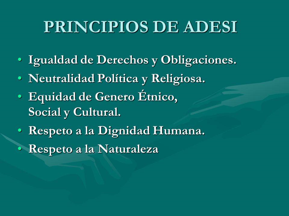 PRINCIPIOS DE ADESI Igualdad de Derechos y Obligaciones.Igualdad de Derechos y Obligaciones.