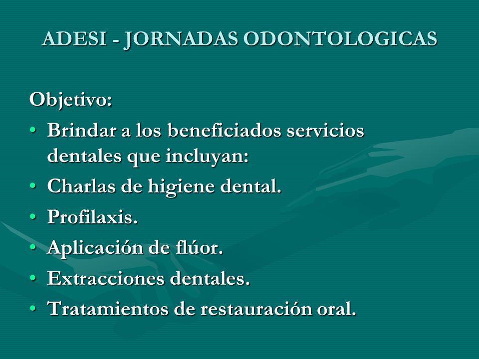 ADESI - JORNADAS ODONTOLOGICAS Objetivo: Brindar a los beneficiados servicios dentales que incluyan:Brindar a los beneficiados servicios dentales que incluyan: Charlas de higiene dental.Charlas de higiene dental.