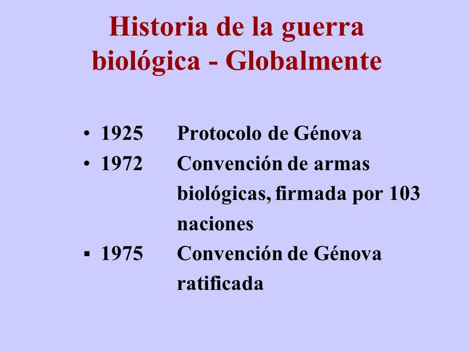 Protocolo para la prohibición del uso en la guerra de gases asfixiantes, venenosos u otros y de otros métodos biológicos de guerra Abierto para firma: 17 de Junio de 1925, entrada en vigor: 8 de Febrero de 1928 Protocolo de Génova