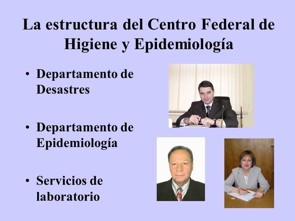 La estructura del Centro Federal de Higiene y Epidemiología Departamento de Desastres Departamento de Epidemiología Servicios de laboratorio