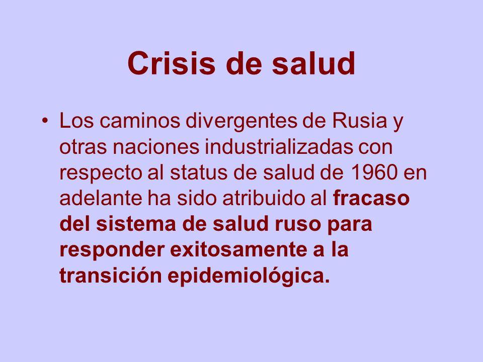 Crisis de salud Los caminos divergentes de Rusia y otras naciones industrializadas con respecto al status de salud de 1960 en adelante ha sido atribui
