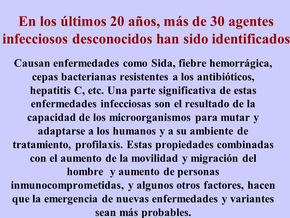 En los últimos 20 años, más de 30 agentes infecciosos desconocidos han sido identificados Causan enfermedades como Sida, fiebre hemorrágica, cepas bac