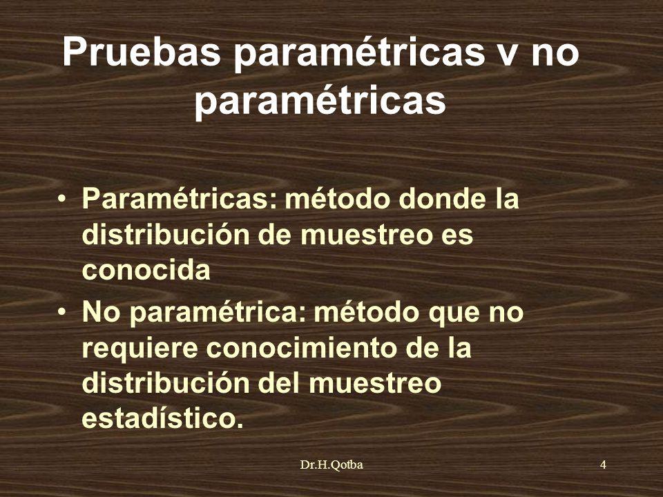 Dr.H.Qotba4 Pruebas paramétricas v no paramétricas Paramétricas: método donde la distribución de muestreo es conocida No paramétrica: método que no re
