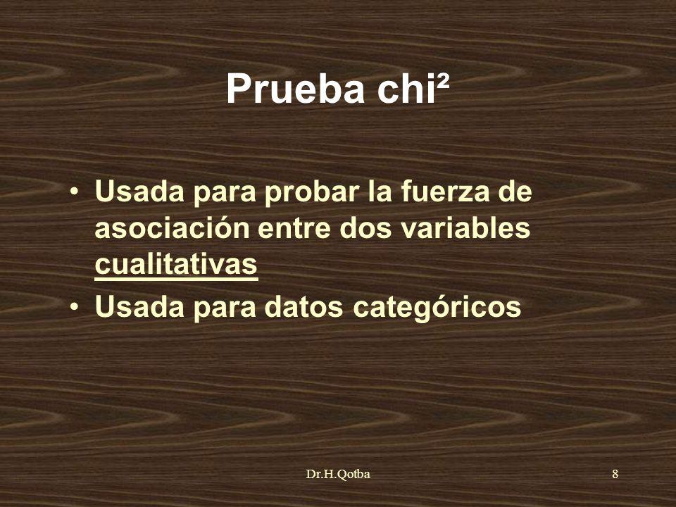 Dr.H.Qotba8 Prueba chi² Usada para probar la fuerza de asociación entre dos variables cualitativas Usada para datos categóricos