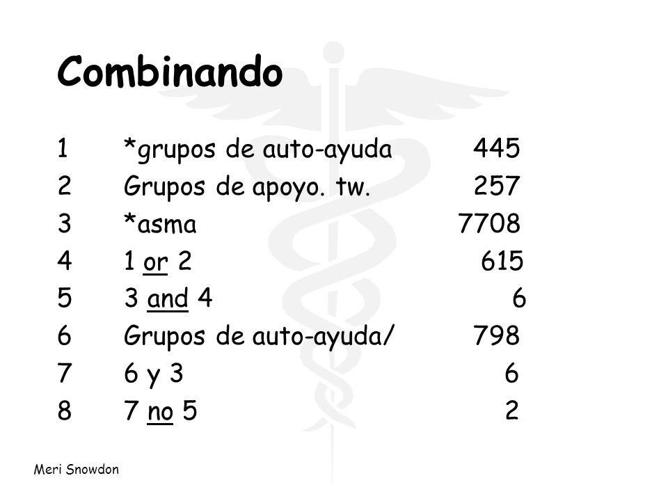Meri Snowdon Combinando 1*grupos de auto-ayuda 445 2Grupos de apoyo. tw. 257 3*asma7708 41 or 2 615 53 and 4 6 6Grupos de auto-ayuda/ 798 76 y 3 6 87