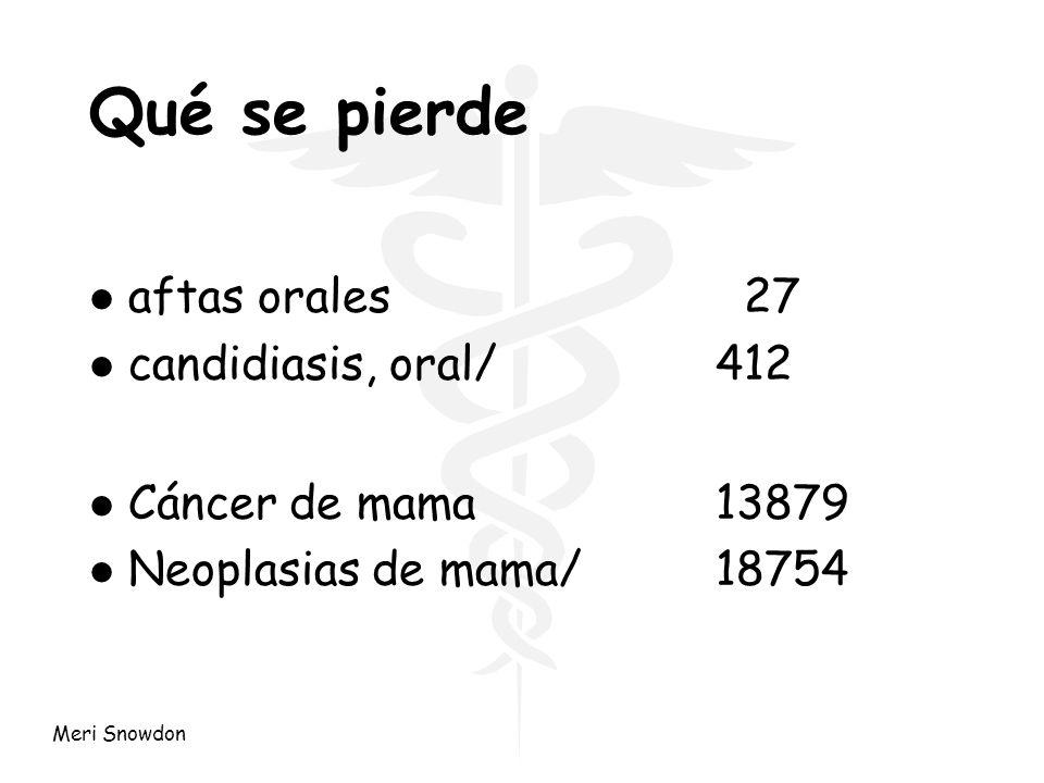 Meri Snowdon Qué se pierde l aftas orales 27 l candidiasis, oral/412 l Cáncer de mama13879 l Neoplasias de mama/18754