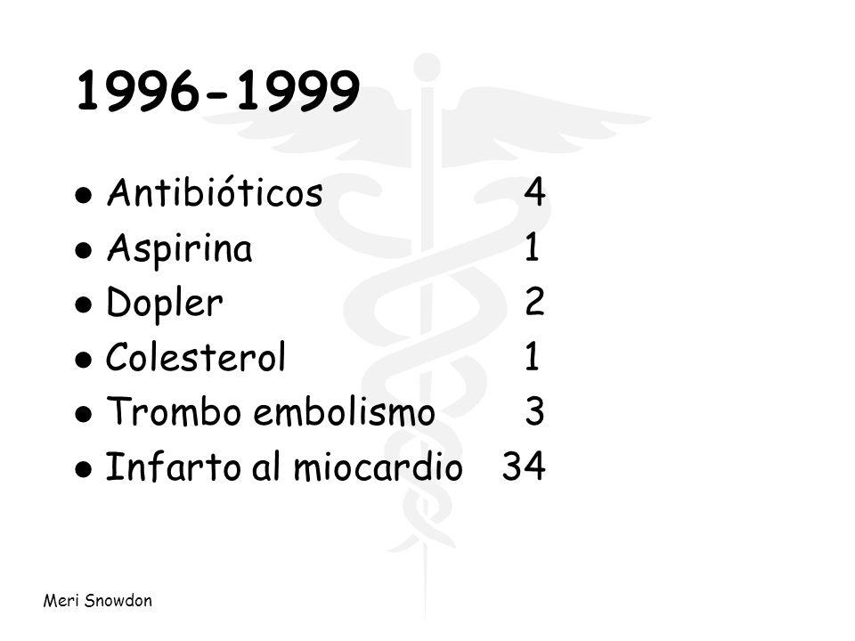 Meri Snowdon 1996-1999 l Antibióticos 4 l Aspirina 1 l Dopler 2 l Colesterol 1 l Trombo embolismo 3 l Infarto al miocardio34