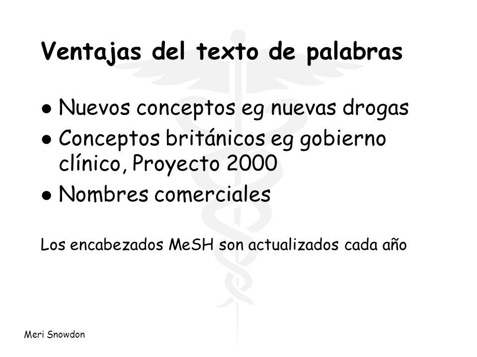 Meri Snowdon Ventajas del texto de palabras l Nuevos conceptos eg nuevas drogas l Conceptos británicos eg gobierno clínico, Proyecto 2000 l Nombres co