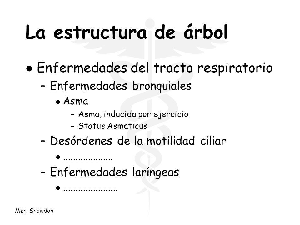 Meri Snowdon La estructura de árbol l Enfermedades del tracto respiratorio –Enfermedades bronquiales l Asma –Asma, inducida por ejercicio –Status Asma