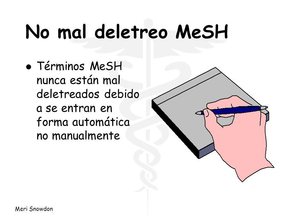 Meri Snowdon Ventajas del texto de palabras l Nuevos conceptos eg nuevas drogas l Conceptos británicos eg gobierno clínico, Proyecto 2000 l Nombres comerciales Los encabezados MeSH son actualizados cada año