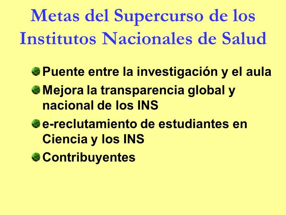 Metas del Supercurso de los Institutos Nacionales de Salud Puente entre la investigación y el aula Mejora la transparencia global y nacional de los INS e-reclutamiento de estudiantes en Ciencia y los INS Contribuyentes