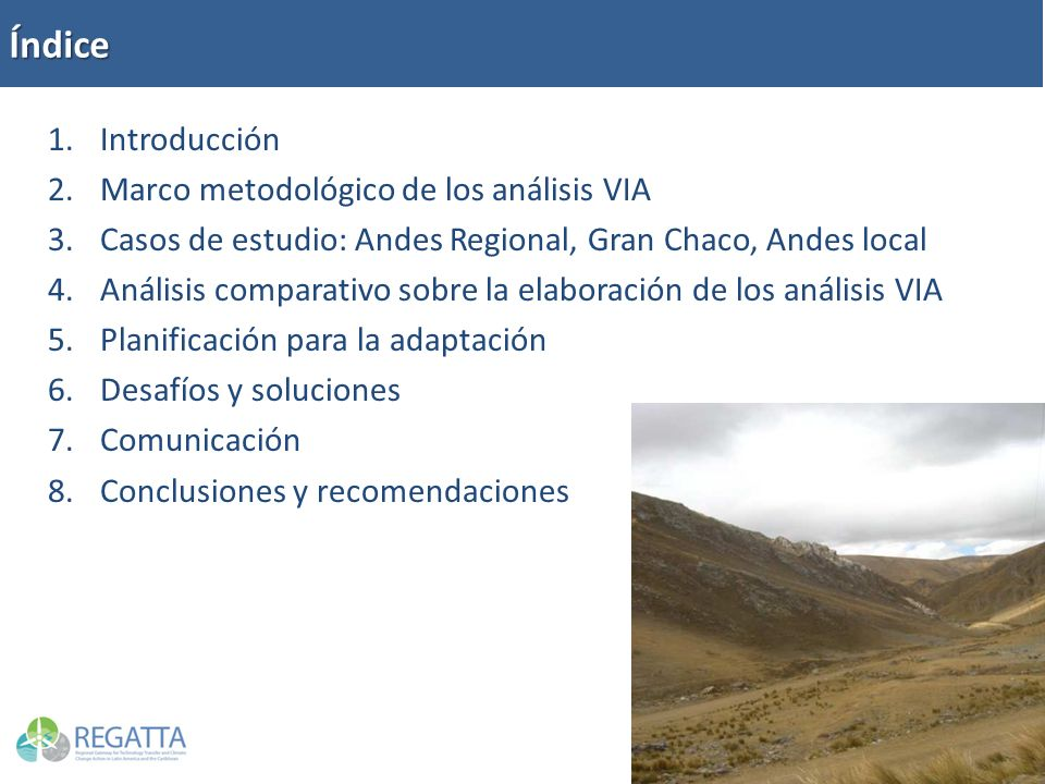 Índice 1.Introducción 2.Marco metodológico de los análisis VIA 3.Casos de estudio: Andes Regional, Gran Chaco, Andes local 4.Análisis comparativo sobr
