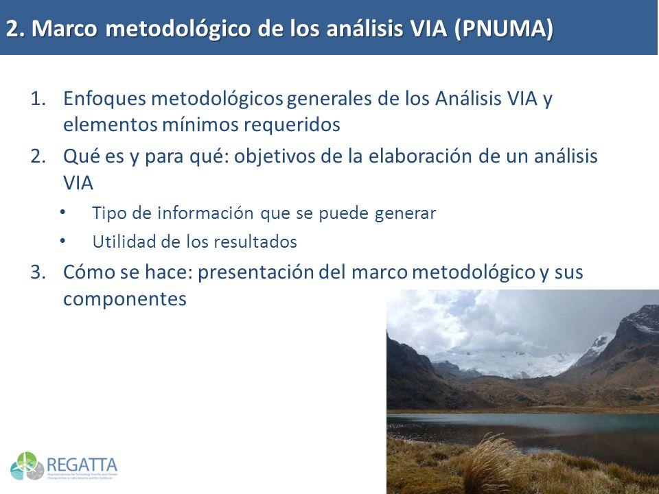 2. Marco metodológico de los análisis VIA (PNUMA) 1.Enfoques metodológicos generales de los Análisis VIA y elementos mínimos requeridos 2.Qué es y par
