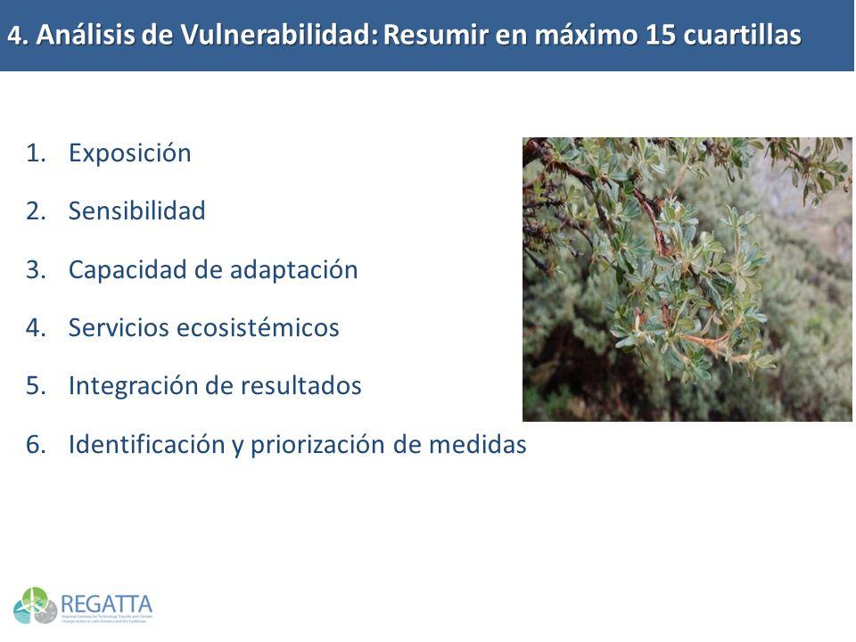 4. Análisis de Vulnerabilidad: Resumir en máximo 15 cuartillas 1.Exposición 2.Sensibilidad 3.Capacidad de adaptación 4.Servicios ecosistémicos 5.Integ