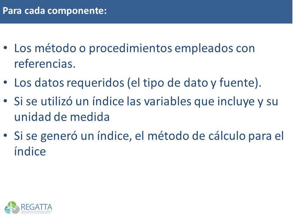 Para cada componente: Los método o procedimientos empleados con referencias. Los datos requeridos (el tipo de dato y fuente). Si se utilizó un índice