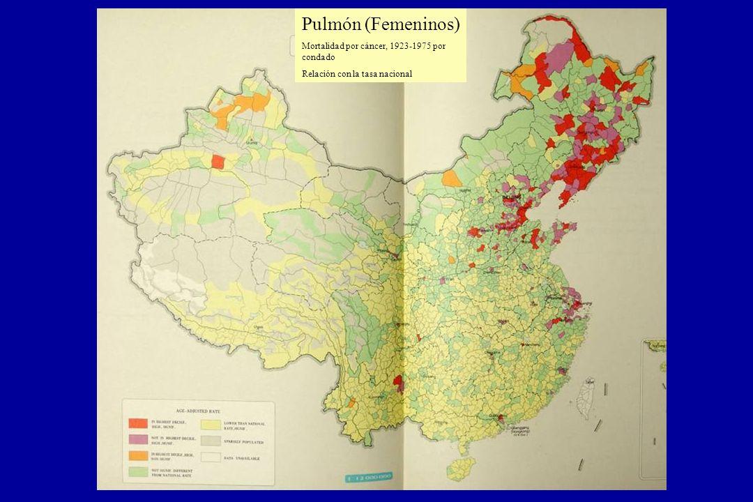 Pulmón (Femeninos) Mortalidad por cáncer, 1923-1975 por condado Relación con la tasa nacional