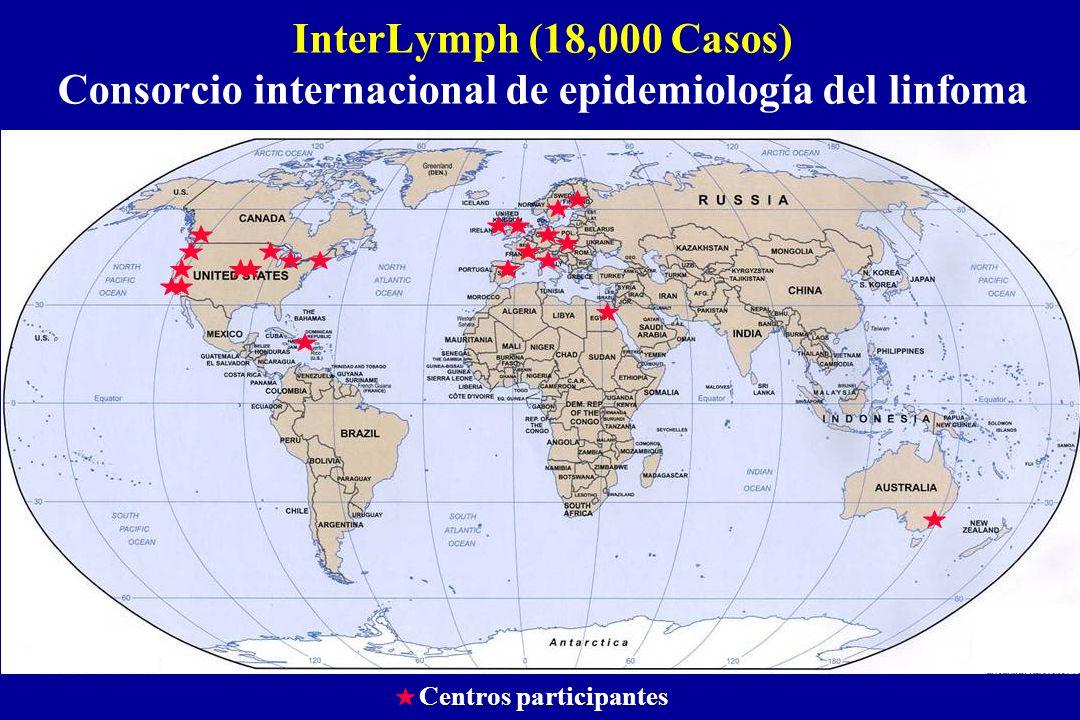 InterLymph (18,000 Casos) Consorcio internacional de epidemiología del linfoma Centros participantes