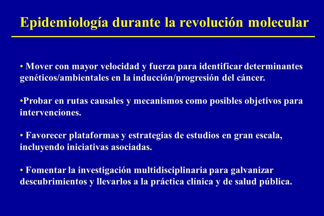 Epidemiología durante la revolución molecular Mover con mayor velocidad y fuerza para identificar determinantes genéticos/ambientales en la inducción/