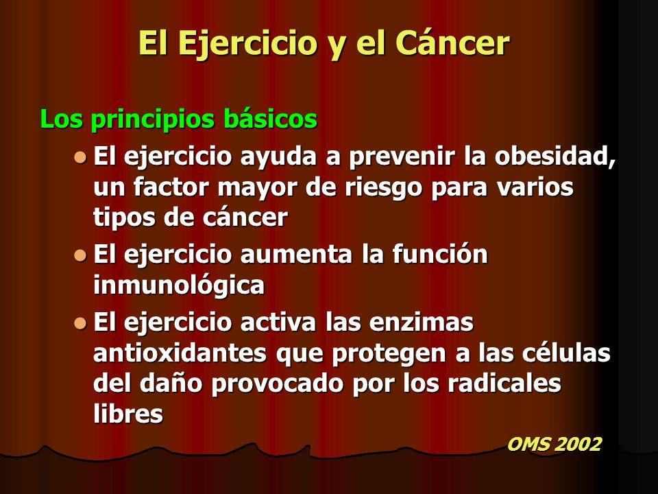 El Ejercicio y el Cáncer Los principios básicos El ejercicio ayuda a prevenir la obesidad, un factor mayor de riesgo para varios tipos de cáncer El ej