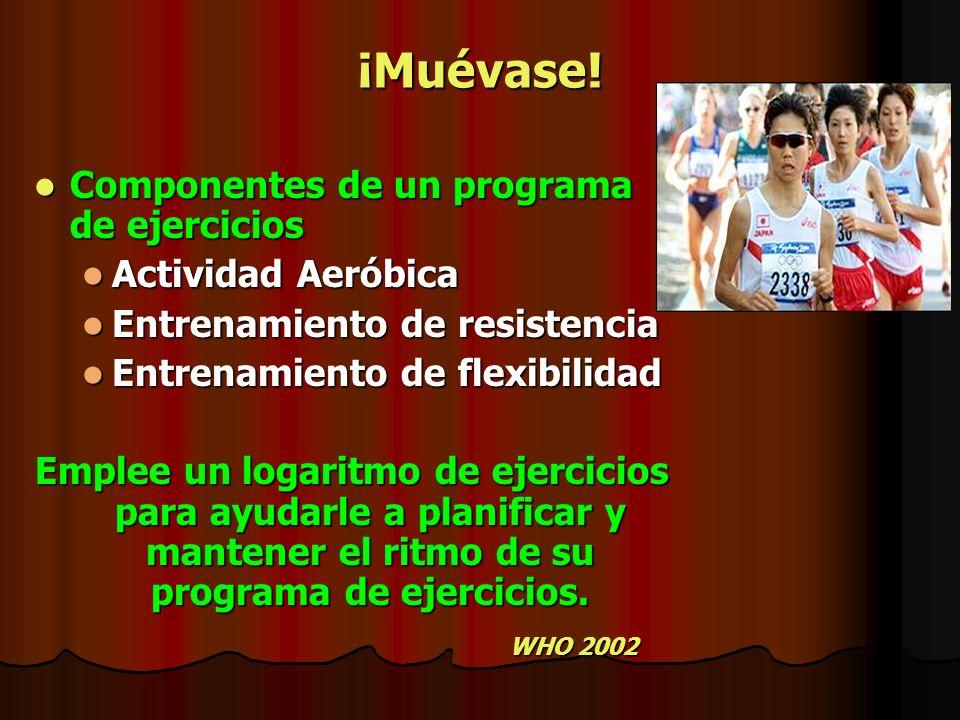 ¡Muévase! Componentes de un programa de ejercicios Componentes de un programa de ejercicios Actividad Aeróbica Actividad Aeróbica Entrenamiento de res