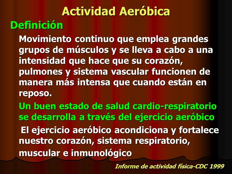 Actividad Aeróbica Definición Movimiento continuo que emplea grandes grupos de músculos y se lleva a cabo a una intensidad que hace que su corazón, pu