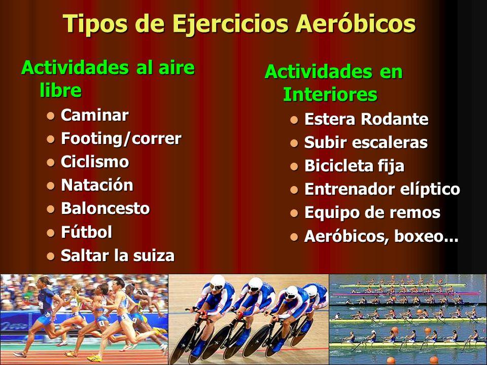 Tipos de Ejercicios Aeróbicos Actividades al aire libre Caminar Caminar Footing/correr Footing/correr Ciclismo Ciclismo Natación Natación Baloncesto B