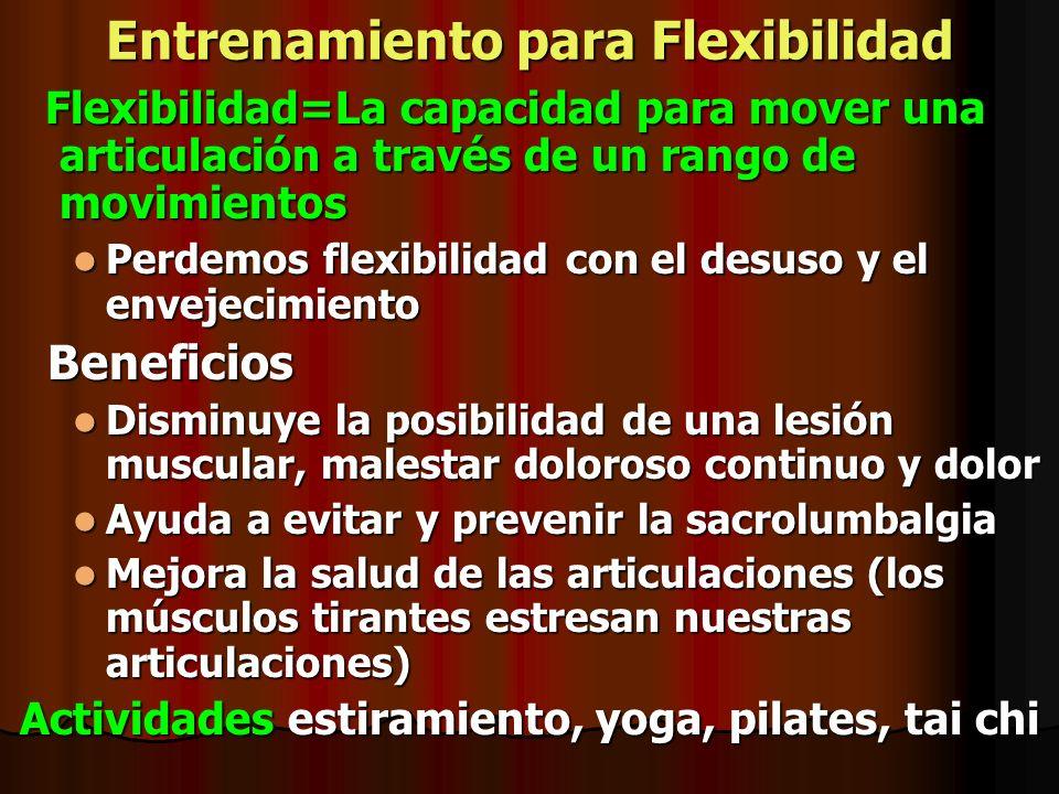 Entrenamiento para Flexibilidad Flexibilidad=La capacidad para mover una articulación a través de un rango de movimientos Flexibilidad=La capacidad pa