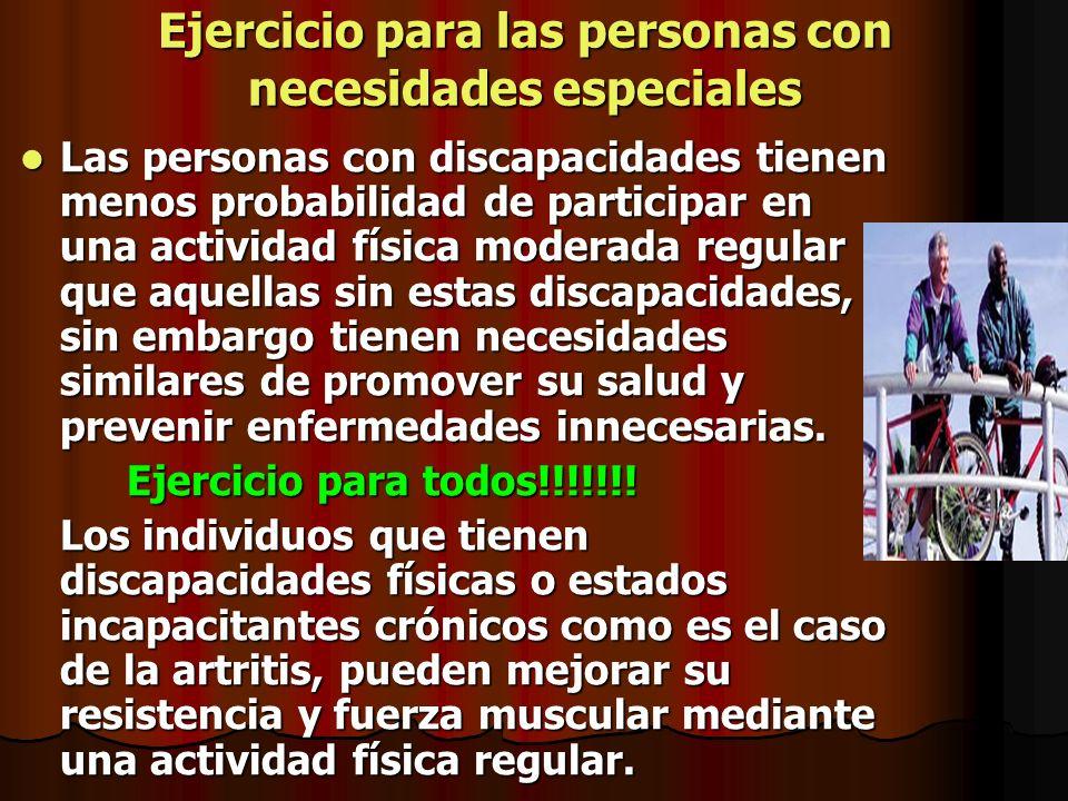 Ejercicio para las personas con necesidades especiales Las personas con discapacidades tienen menos probabilidad de participar en una actividad física
