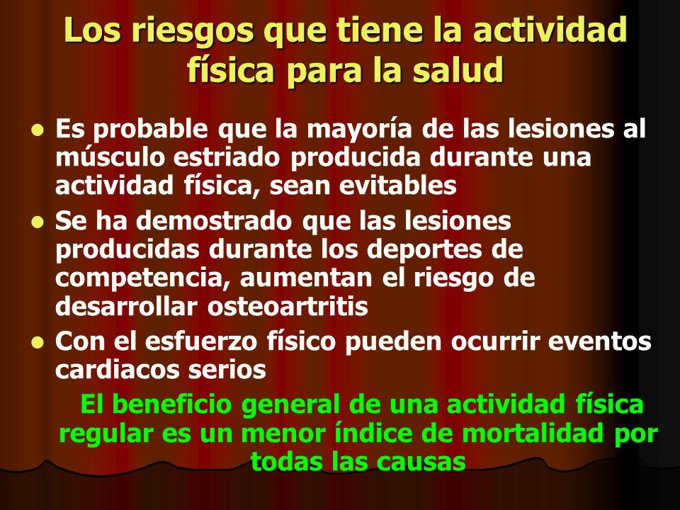 Los riesgos que tiene la actividad física para la salud Es probable que la mayoría de las lesiones al músculo estriado producida durante una actividad