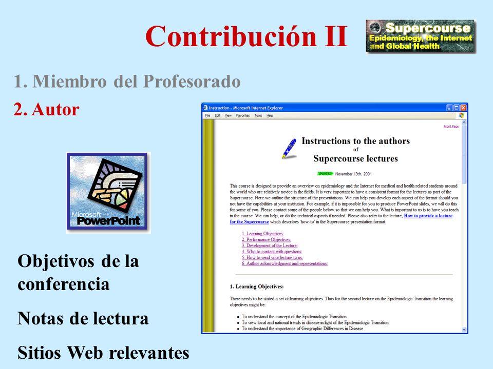 Contribución I 1. Miembro del Profesorado
