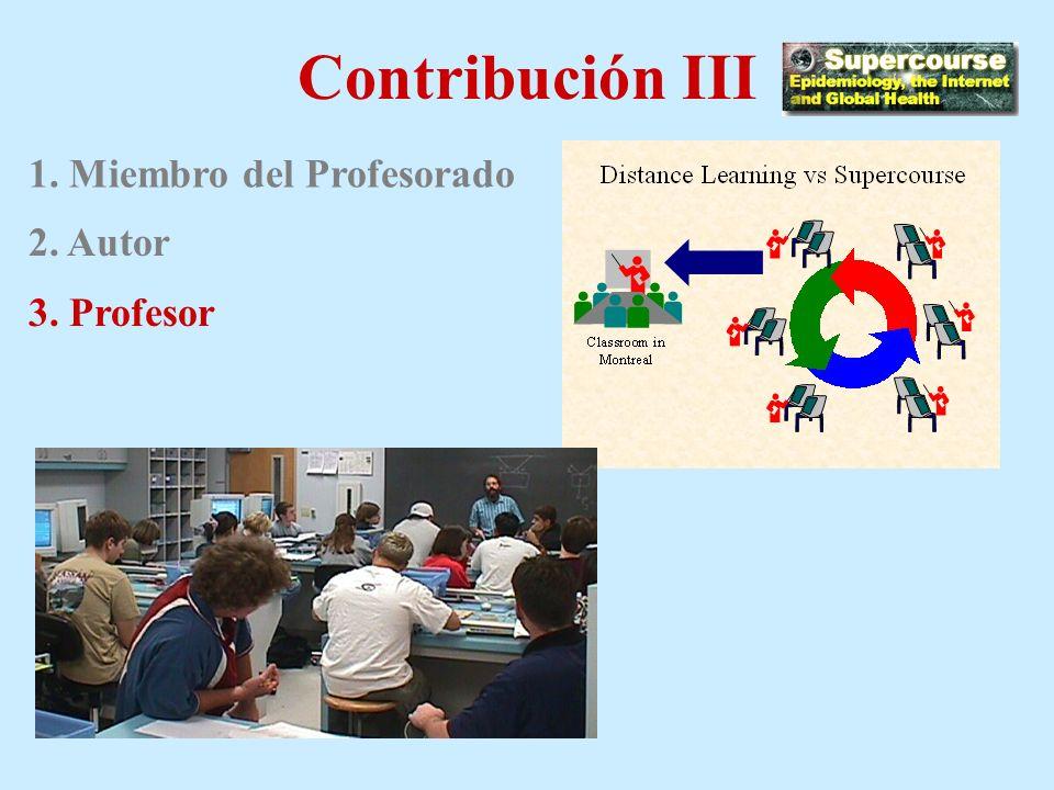 Contribución II 1. Miembro del Profesorado 2. Autor Objetivos de la conferencia Notas de lectura Sitios Web relevantes