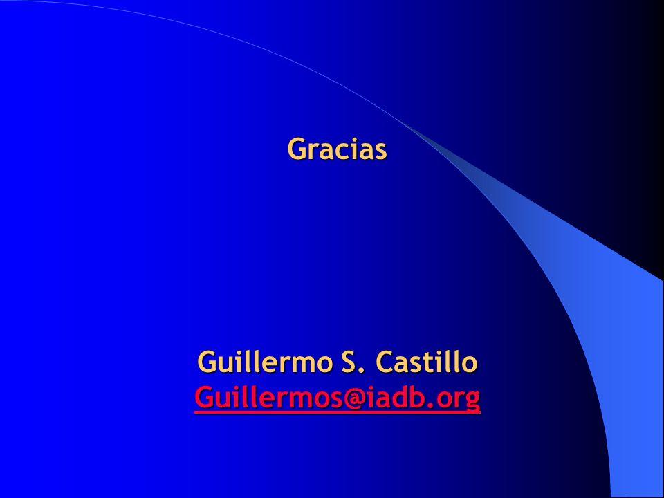 Gracias Guillermo S. Castillo Guillermos@iadb.org