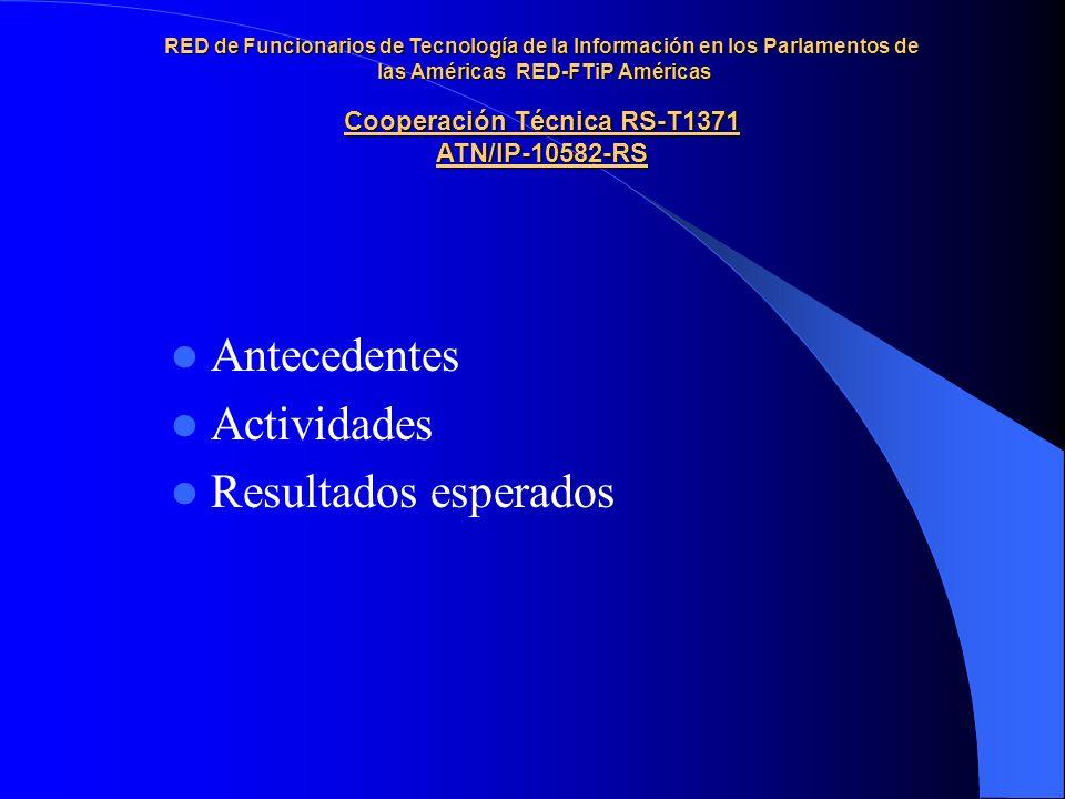 Antecedentes Actividades Resultados esperados RED de Funcionarios de Tecnología de la Información en los Parlamentos de las Américas RED-FTiP Américas Cooperación Técnica RS-T1371 ATN/IP-10582-RS