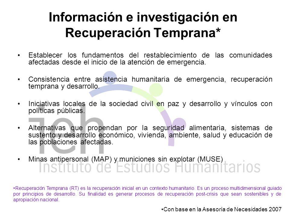 Información e investigación en Recuperación Temprana* Establecer los fundamentos del restablecimiento de las comunidades afectadas desde el inicio de la atención de emergencia.