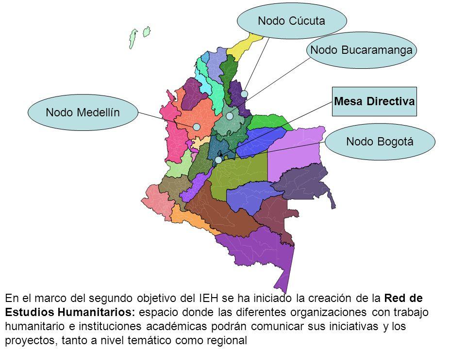 Mesa Directiva Nodo Bucaramanga Nodo Medellín Nodo Bogotá Nodo Cúcuta En el marco del segundo objetivo del IEH se ha iniciado la creación de la Red de Estudios Humanitarios: espacio donde las diferentes organizaciones con trabajo humanitario e instituciones académicas podrán comunicar sus iniciativas y los proyectos, tanto a nivel temático como regional