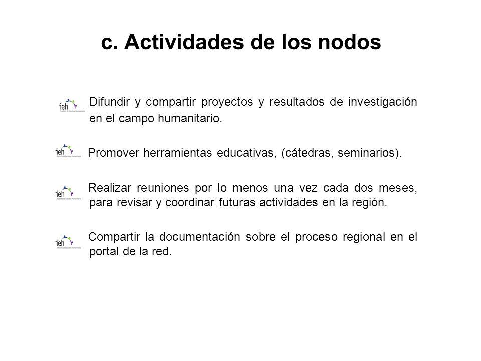 c. Actividades de los nodos Difundir y compartir proyectos y resultados de investigación en el campo humanitario. Promover herramientas educativas, (c