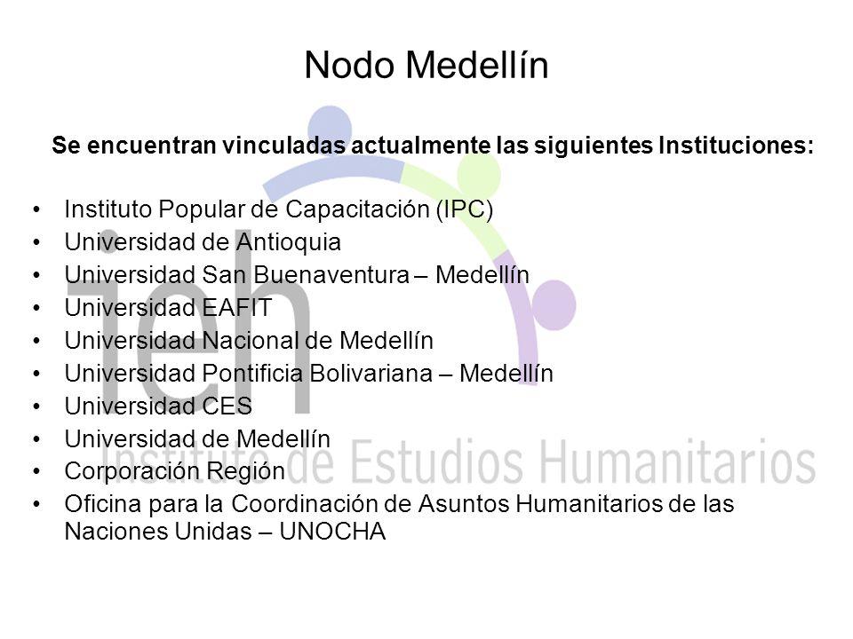 Nodo Medellín Se encuentran vinculadas actualmente las siguientes Instituciones: Instituto Popular de Capacitación (IPC) Universidad de Antioquia Universidad San Buenaventura – Medellín Universidad EAFIT Universidad Nacional de Medellín Universidad Pontificia Bolivariana – Medellín Universidad CES Universidad de Medellín Corporación Región Oficina para la Coordinación de Asuntos Humanitarios de las Naciones Unidas – UNOCHA