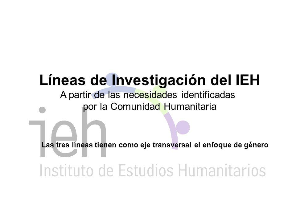 Líneas de Investigación del IEH A partir de las necesidades identificadas por la Comunidad Humanitaria Las tres líneas tienen como eje transversal el enfoque de género