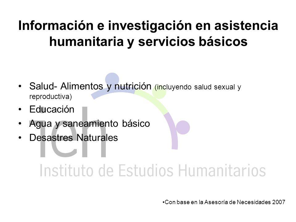 Información e investigación en asistencia humanitaria y servicios básicos Salud- Alimentos y nutrición (incluyendo salud sexual y reproductiva) Educación Agua y saneamiento básico Desastres Naturales Con base en la Asesoría de Necesidades 2007