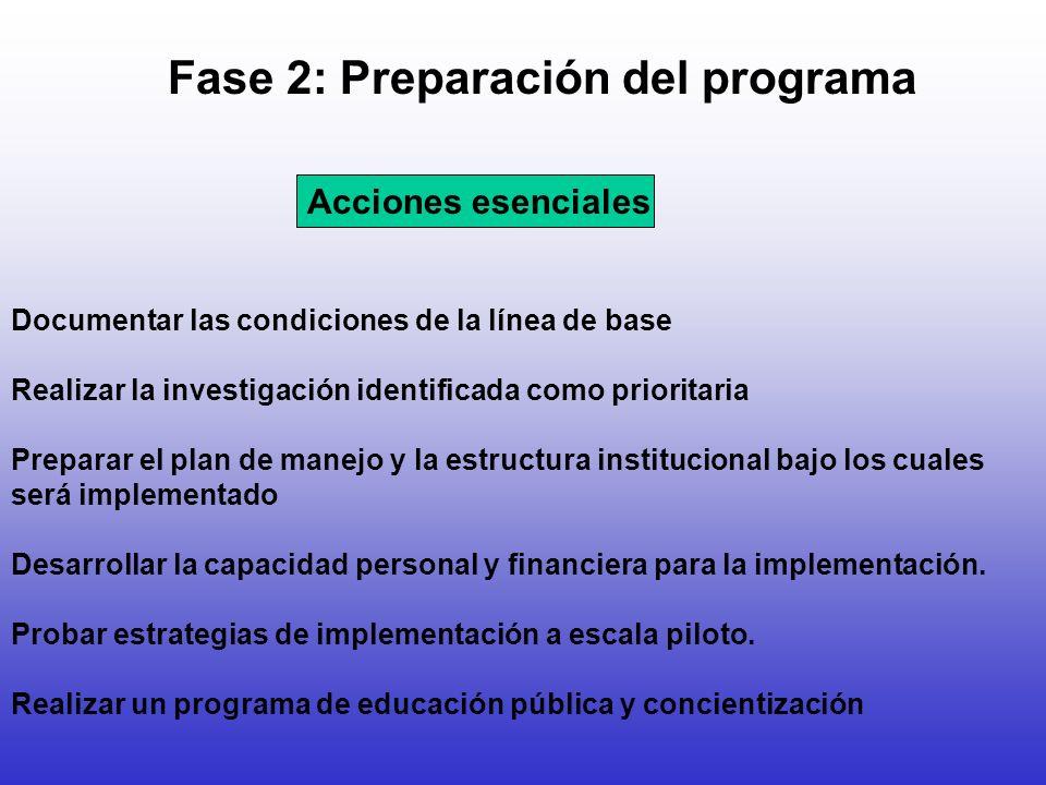 Fase 2: Preparación del programa Documentar las condiciones de la línea de base Realizar la investigación identificada como prioritaria Preparar el pl