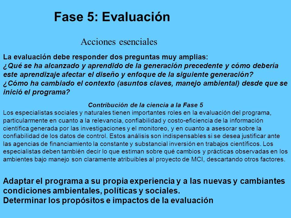 Fase 5: Evaluación Contribución de la ciencia a la Fase 5 Los especialistas sociales y naturales tienen importantes roles en la evaluación del program