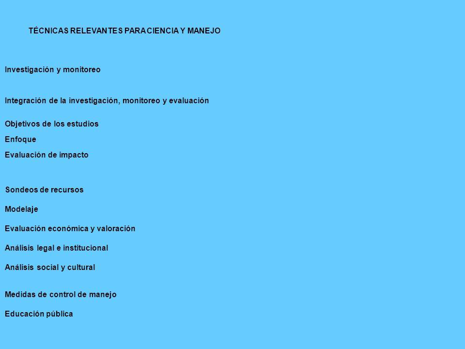 TÉCNICAS RELEVANTES PARA CIENCIA Y MANEJO Investigación y monitoreo Integración de la investigación, monitoreo y evaluación Objetivos de los estudios