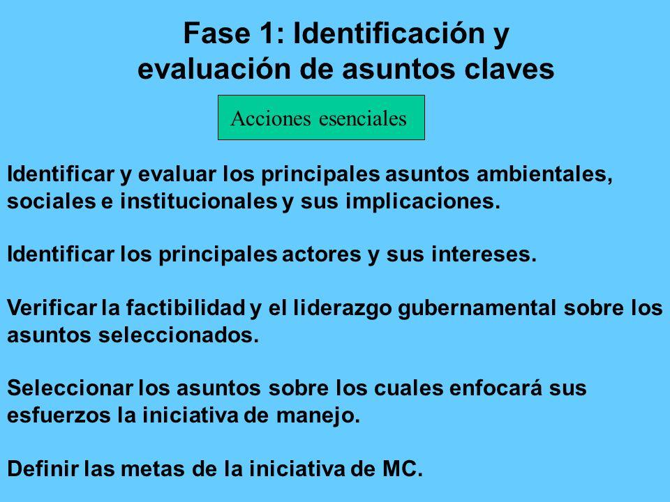 Fase 1: Identificación y evaluación de asuntos claves Identificar y evaluar los principales asuntos ambientales, sociales e institucionales y sus impl