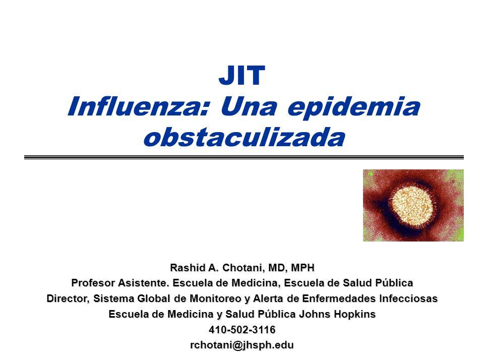 Virus Influenza Tres tiposTres tipos –A, B, C Antígenos de superficieAntígenos de superficie –H (hemaglutinina) –N (neuraminidasa) Influenza A tiene subtiposInfluenza A tiene subtipos –H3N2, H1N1 (común en humanos) –H7N7 (aviar 2003, Holanda) –H5N2 (vacuna aviar) –H9N2 (caso humano en Hong Kong, SAR China, 2003) –H5N1 (cepa aviar de interés actual) Credit: L.