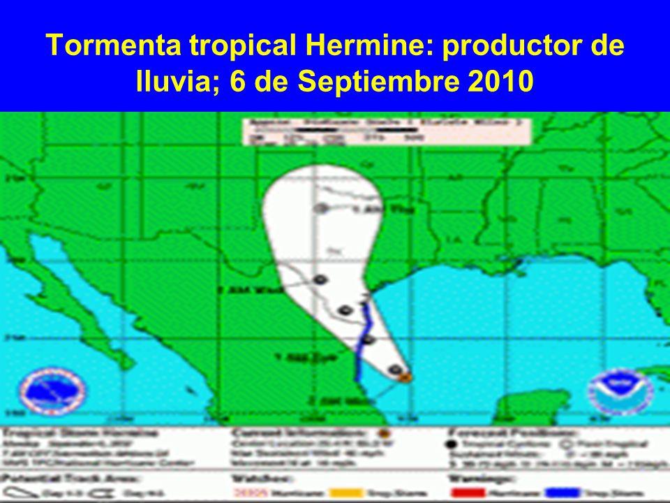 Tormenta tropical Hermine: productor de lluvia; 6 de Septiembre 2010
