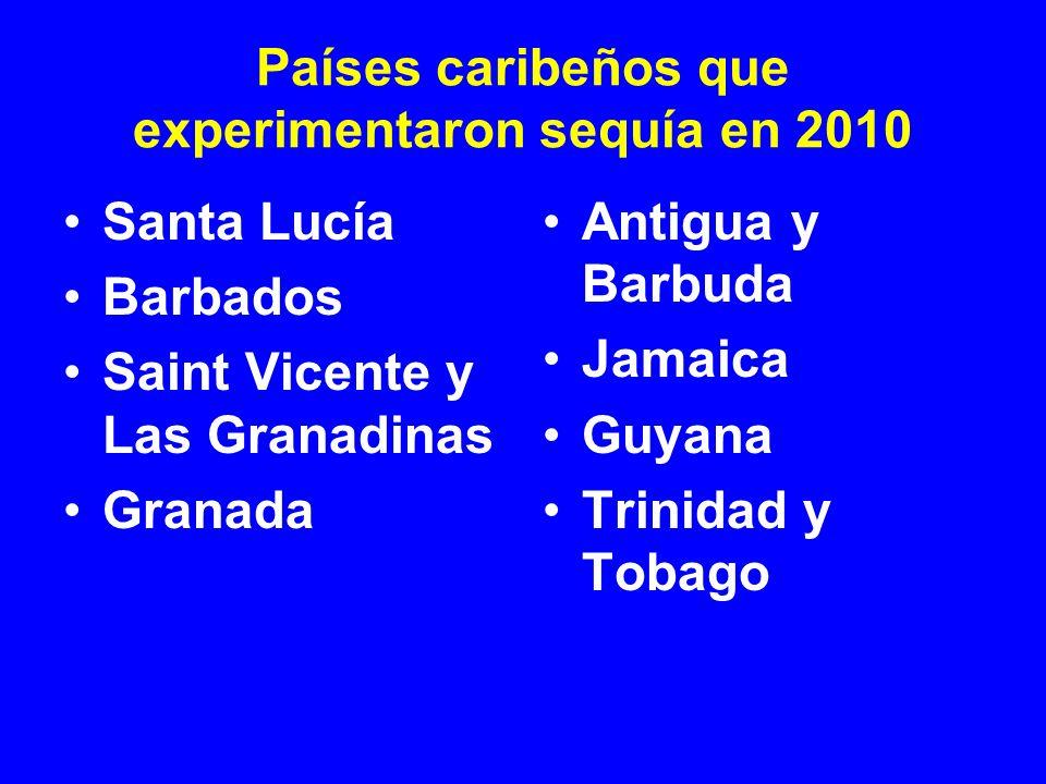 Santa Lucía Barbados Saint Vicente y Las Granadinas Granada Antigua y Barbuda Jamaica Guyana Trinidad y Tobago Países caribeños que experimentaron seq
