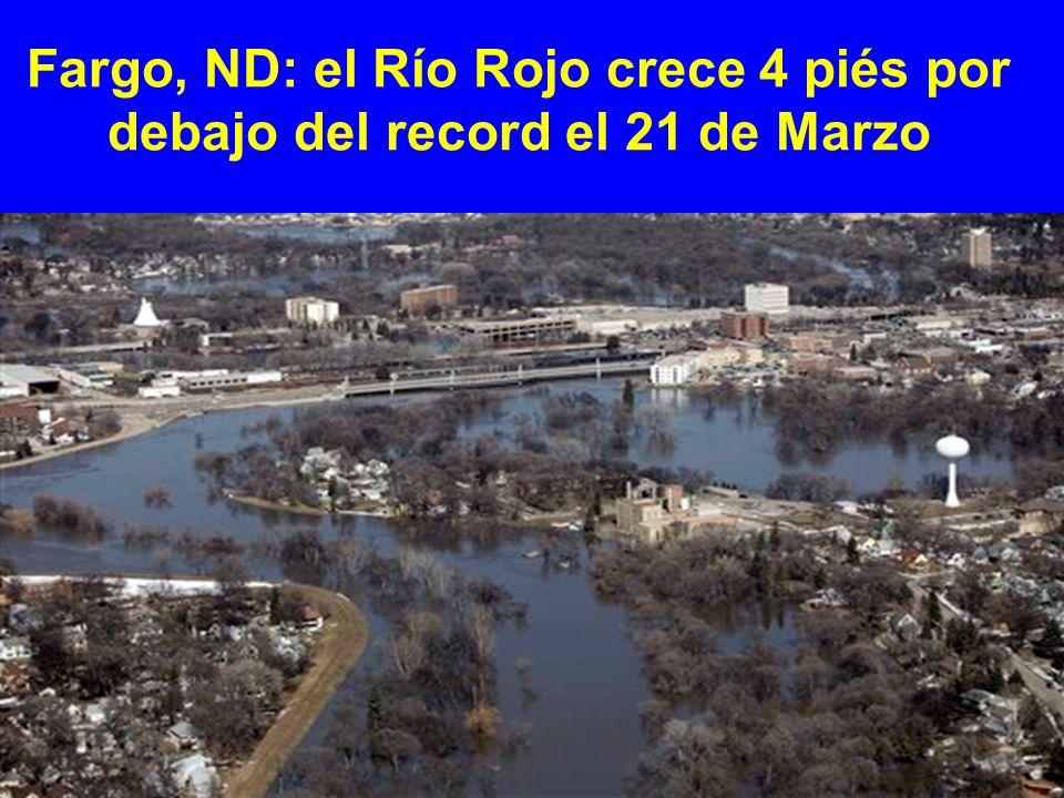 Fargo, ND: el Río Rojo crece 4 piés por debajo del record el 21 de Marzo