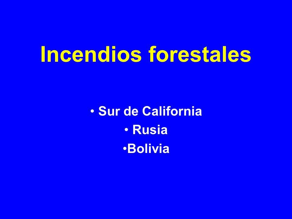 Incendios forestales Sur de California Rusia Bolivia