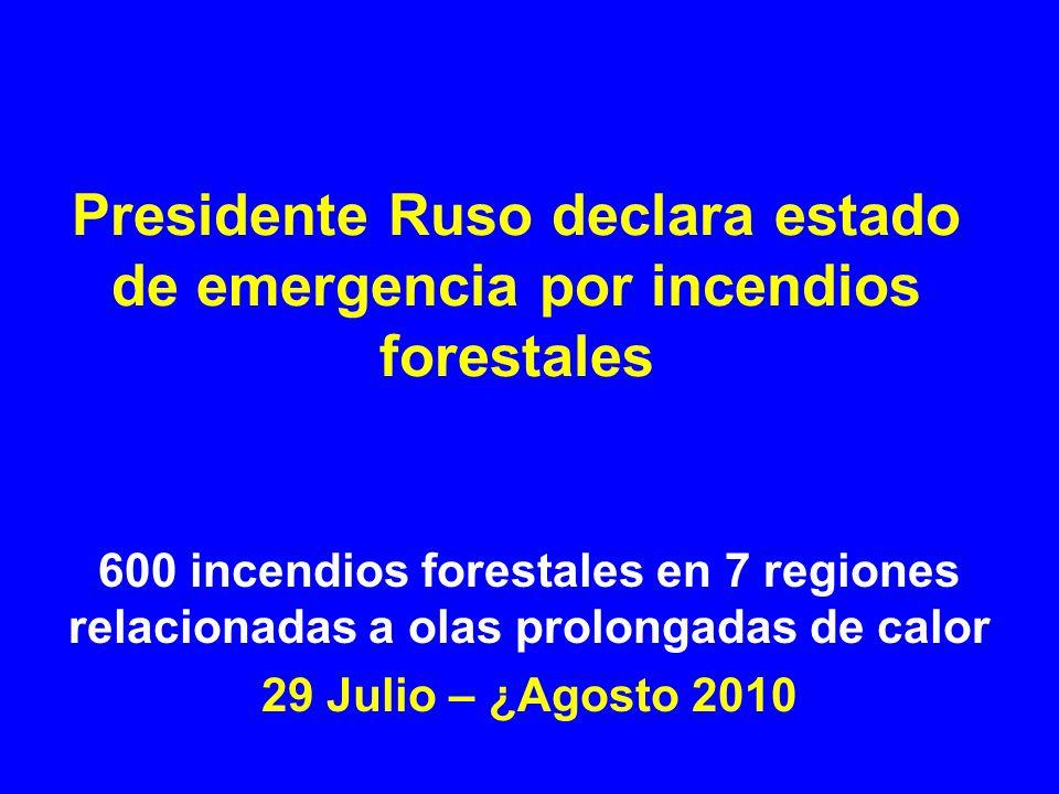 Presidente Ruso declara estado de emergencia por incendios forestales 600 incendios forestales en 7 regiones relacionadas a olas prolongadas de calor