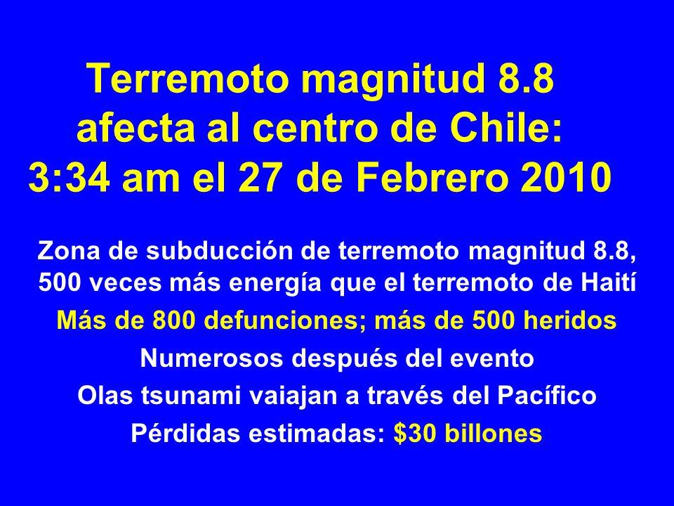 Terremoto magnitud 8.8 afecta al centro de Chile: 3:34 am el 27 de Febrero 2010 Zona de subducción de terremoto magnitud 8.8, 500 veces más energía qu